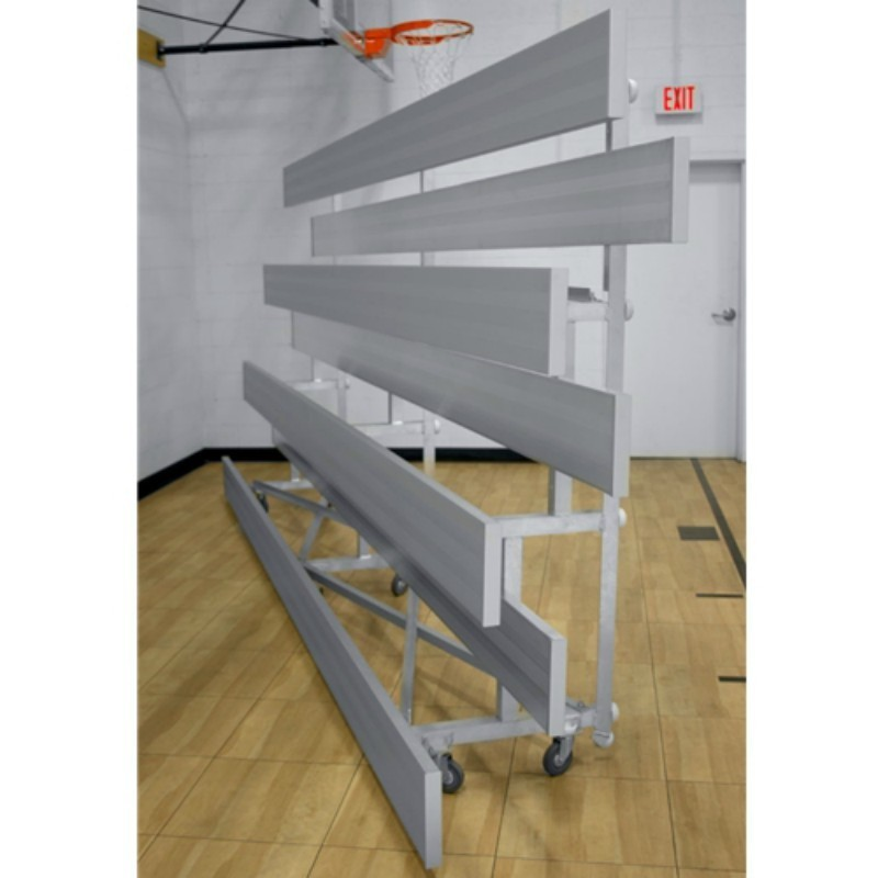 "Gared 3-Row Low Rise Tip n' Roll Spectator Bleacher, 12"" Plank, 15 ft (TRB0315LR)"