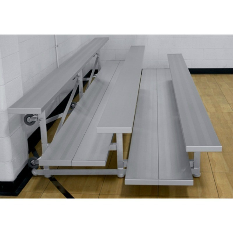 "Gared 3-Row Low Rise Tip n' Roll Spectator Bleacher, 12"" Plank, 27 ft, Double Foot Planks (TRB0327DFLR)"