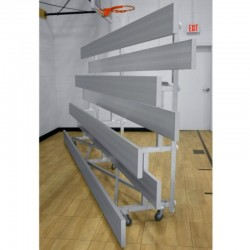 "Gared 4-Row Low Rise Tip n' Roll Spectator Bleacher, 12"" Plank, 15 ft (TRB0415LR)"