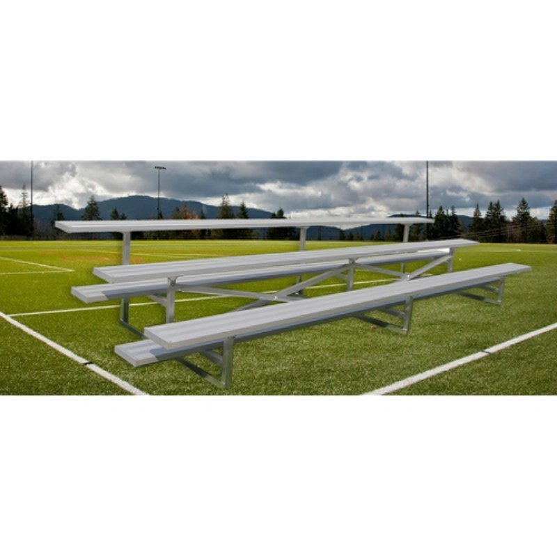 "Gared 3-Row Fixed Spectator Bleacher without Aisle, 10"" Plank, 15 ft (GSNB0315)"