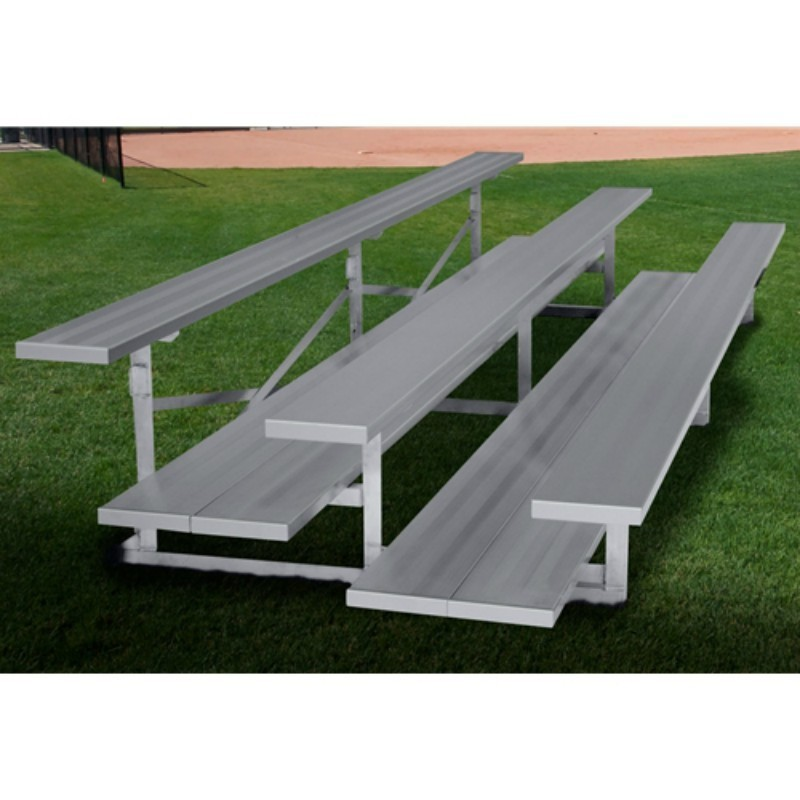 "Gared 3-Row Low Rise Fixed Spectator Bleacher, 12"" Plank, 8 ft, Double Foot Planks (GSNB0308DFLR)"