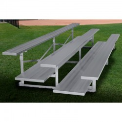 "Gared 3-Row Low Rise Fixed Spectator Bleacher, 12"" Plank, 21 ft, Double Foot Planks (GSNB0321DFLR)"