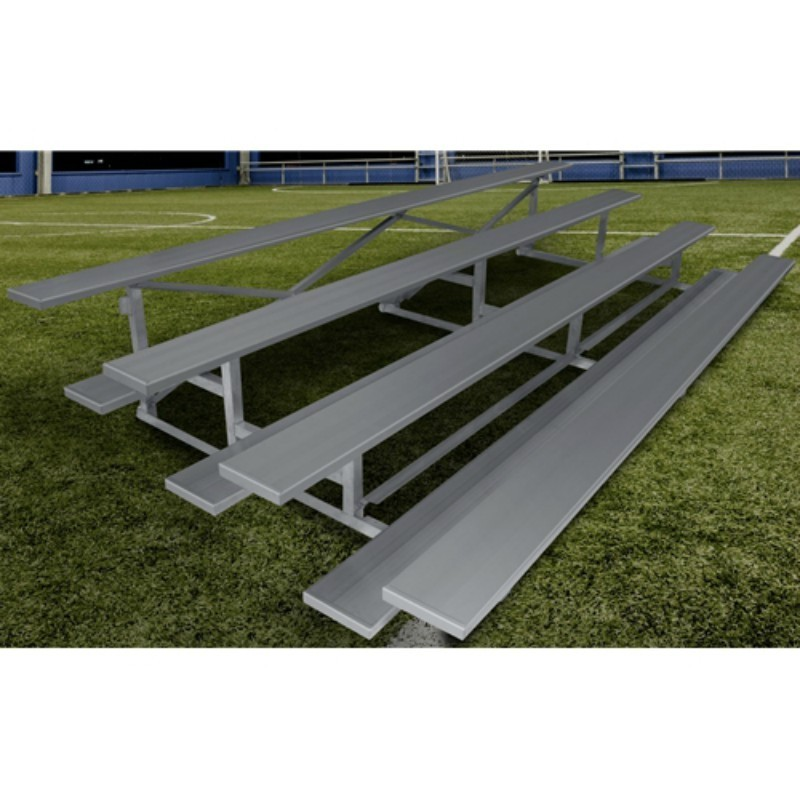 "Gared 4-Row Low Rise Fixed Spectator Bleacher, 12"" Plank, 21 ft (GSNB0421LR)"