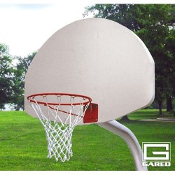 "Gared 3-1/2"" O.D. Unbraced Front Mount Gooseneck Post, 3' Extension, 1701 Backboard, 39WO Goal (PK3505)"