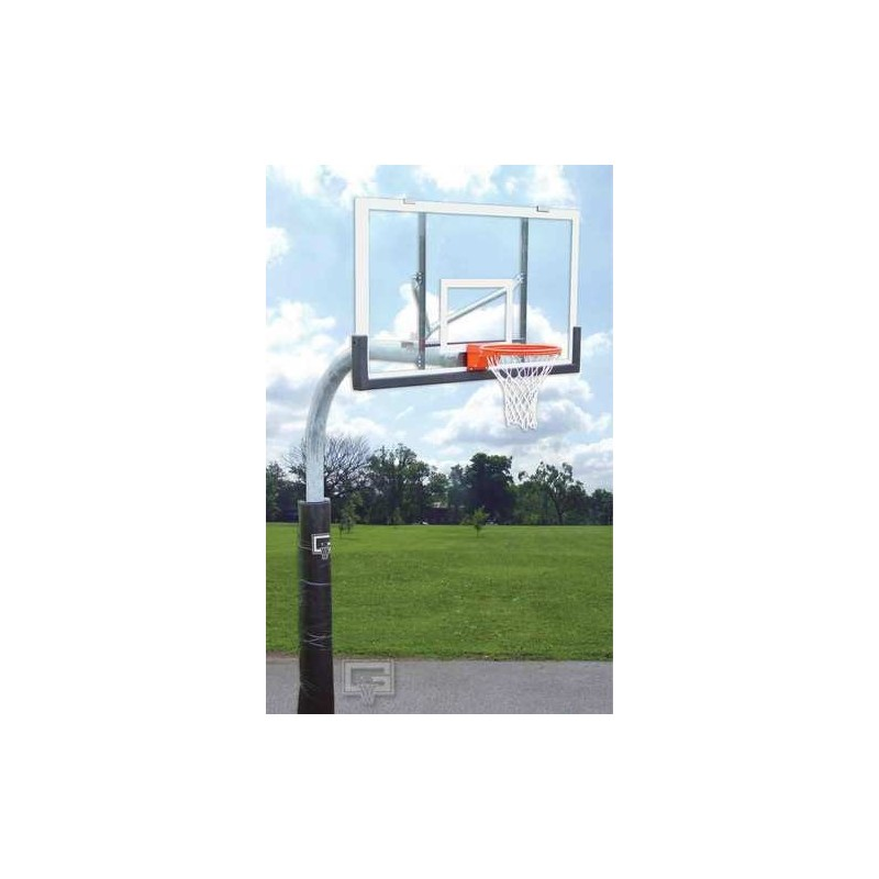 """Gared 3-1/2"""" O.D. Front Mount Gooseneck Post with Braces, 3' Extension, BB48A38 Backboard, 726 Goal (PK3530)"""