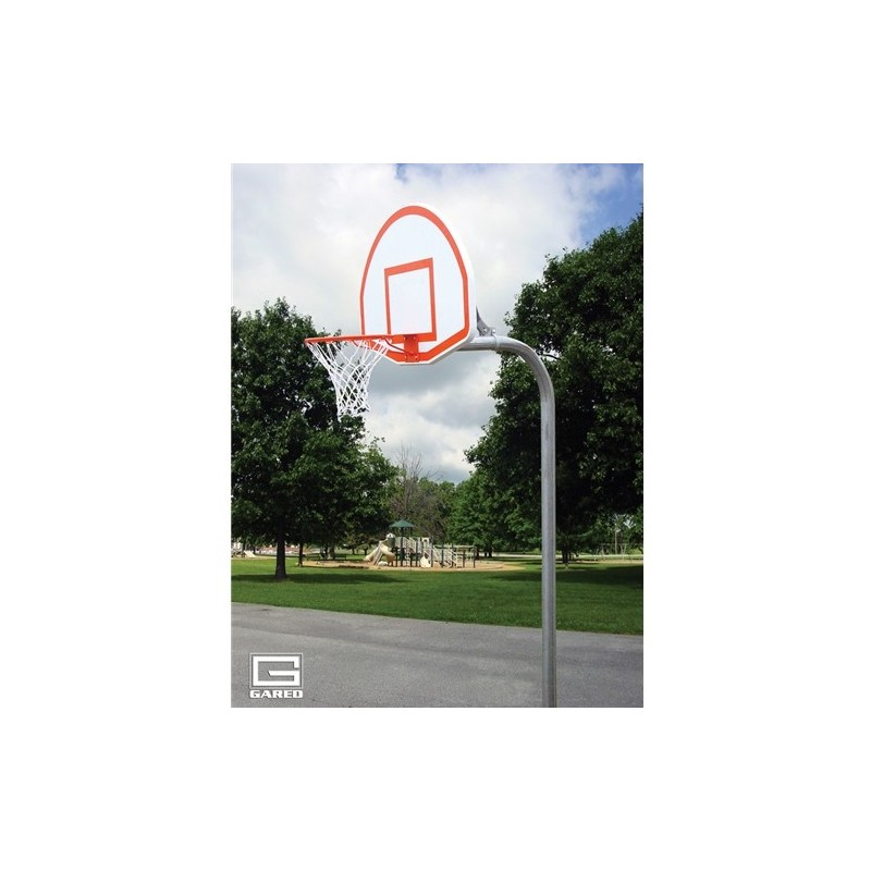 "Gared 3-1/2"" O.D. Front Mount Gooseneck Post with Braces, 3' Extension, 1750B Backboard, 39WO Goal (PK3535)"