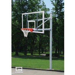 "Gared 5-9/16"" O.D. Front Mount Adjustable Straight Post, 5' Extension, BB72G50 Backboard, 5500 Goal (PK6091)"
