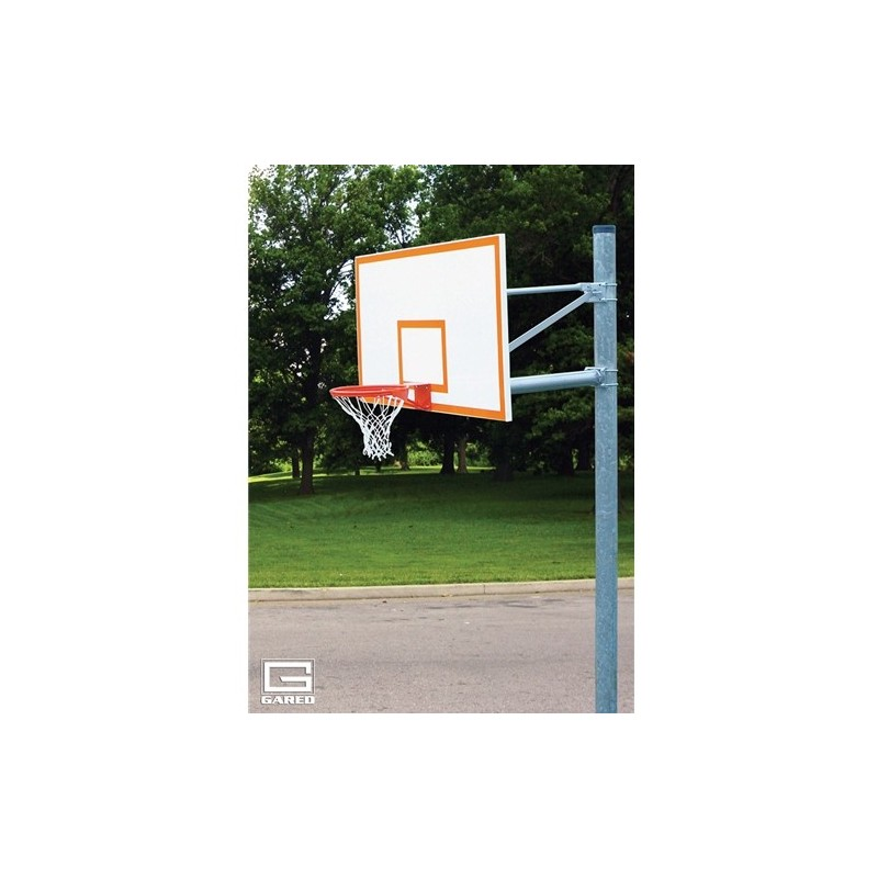 "Gared 6-5/8"" O.D. Front Mount Adjustable Straight Post, 6' Extension, 1272B Backboard, 7550 Goal (PK6010)"