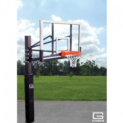"Gared Endurance Playground System, 6"" Square Post, 4' Extension, BB60G38 Glass Backboard, 8800 Goal (GP104G60)"