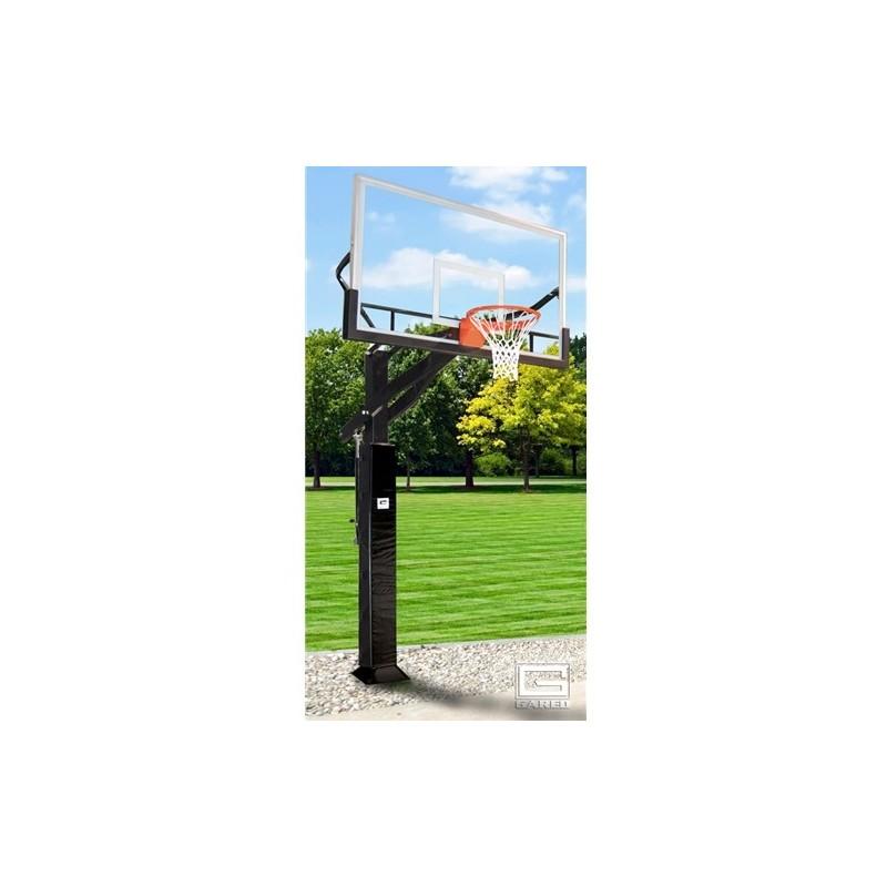 "Gared Super Pro Jam Basketball System, 6"" x 8"" Square Post, 42"" x 72"" Glass Backboard (GP12G72DM)"