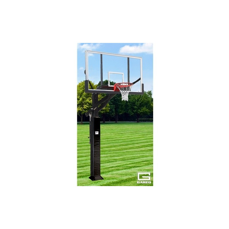 "Gared Super Pro Jam Basketball System, 6"" x 8"" Square Post, 42"" x 72"" Polycarbonate Backboard, 2000+ Goal (GP12P72DM)"