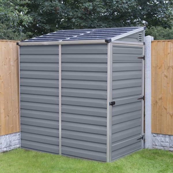 Palram 4x6 lean to skylight storage shed kit gray hg9600t for Lean to storage shed