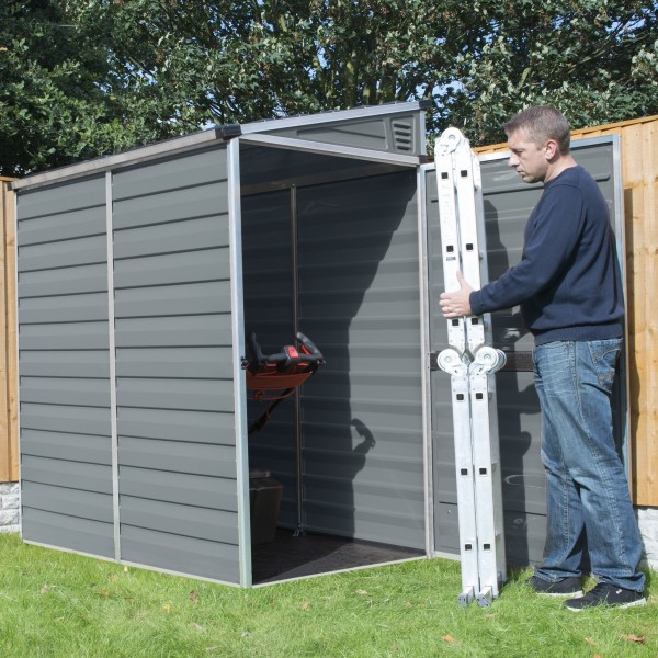Palram 4x6 Lean To Skylight Storage Shed Kit Gray Hg9600t