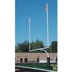 "Gared RedZone 5-9/16"" O.D., 23' 4"" Crossbar, High School Football Goalposts, White, Plate-Mount (FGP601PW)"