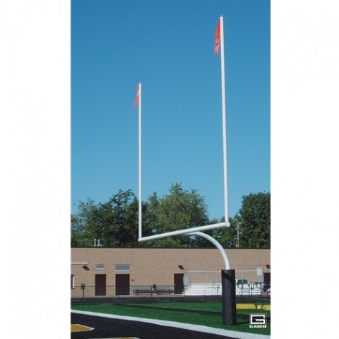 "Gared RedZone 5-9/16"" O.D., 23' 4"" Crossbar, High School Football Goalposts, White, Plate-Mount (FGP601PW)"