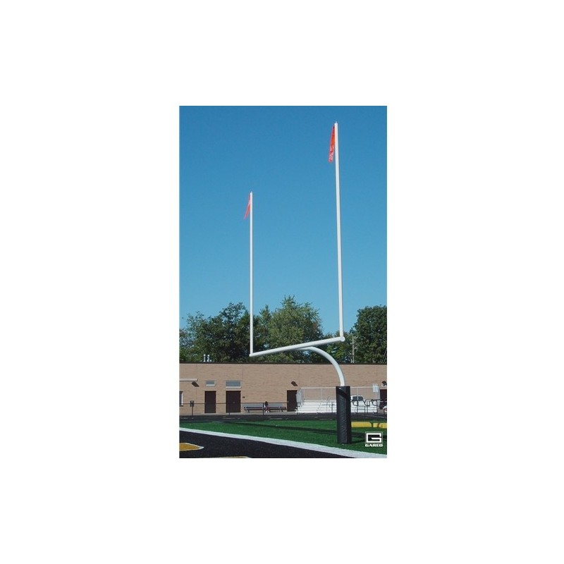 "Gared RedZone 4-1/2"" O.D., 18' 6"" Crossbar, College Football Goalposts, White, Plate-Mount (FGP402PW)"
