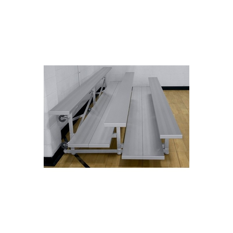 "Gared 2-Row Tip n' Roll Spectator Bleacher, 10"" Plank, 15 ft, Double Foot Planks (TRB0215DF)"