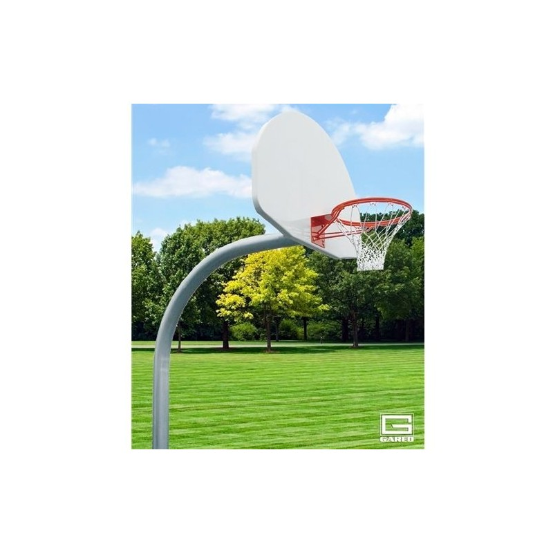 "Gared 4-1/2"" O.D. Front Mount Adjustable Straight Post, 4' Extension, 1750B Backboard, 240 Goal (PK4541)"