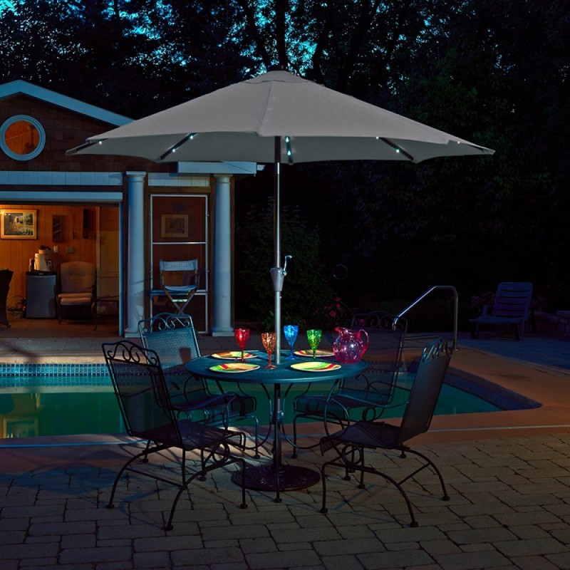 Blue Wave Mirage Fiesta 9-ft Market Umbrella w/ Solar LED - Champagne Olefin  (NU5424CH)