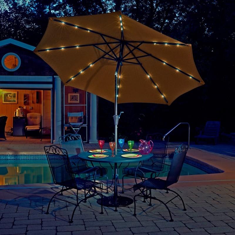 Blue Wave Mirage Fiesta 9-ft Market Umbrella w/ Solar LED - Stone Olefin (NU5424ST)