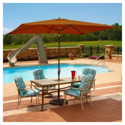 Blue Wave Adriatic 6.5-ft x 10-ft Rectangular Market Umbrella - Terra Cotta Sunbrella Acrylic (NU5433TS)