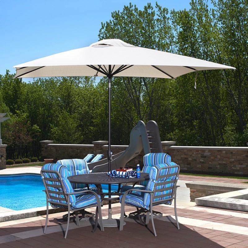 Blue Wave Caspian 8-ft x 10-ft Rectangular Market Umbrella - Champagne Olefin (NU5448CH)