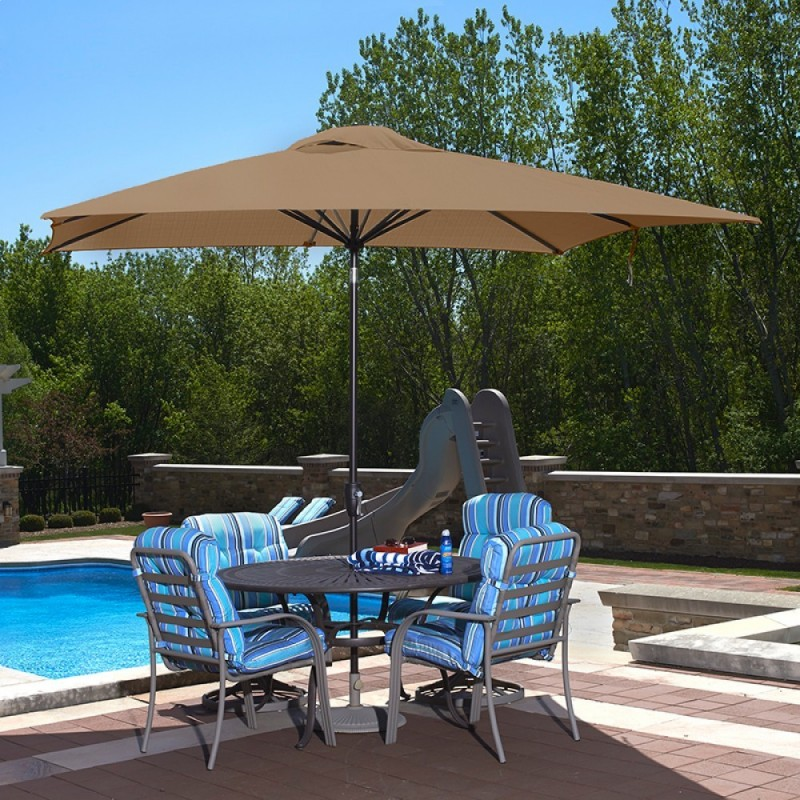 Blue Wave Caspian 8-ft x 10-ft Rectangular Market Umbrella - Stone Olefin (NU5448ST)