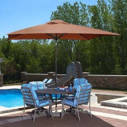 Blue Wave Caspian 8-ft x 10-ft Rectangular Market Umbrella - Terra Cotta Olefin (NU5448TC)