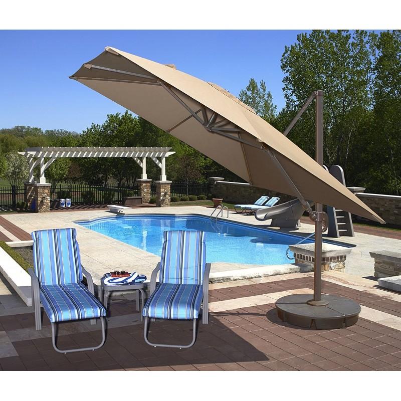 Blue Wave Santorini II 10ft Square Cantilever Umbrella  - Beige Sunbrella Acrylic (NU6045)