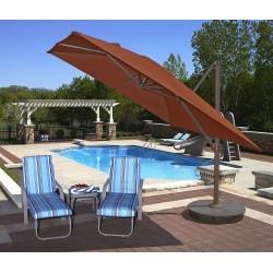Blue Wave Santorini II 10ft Square Cantilever Umbrella  - Terra Cotta Sunbrella Acrylic (NU6050)