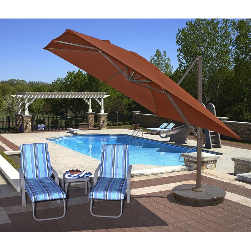 Blue Wave Santorini II 10ft Square Cantilever Umbrella  - Terra Cotta Sunbrella Acrylic (NU6050)