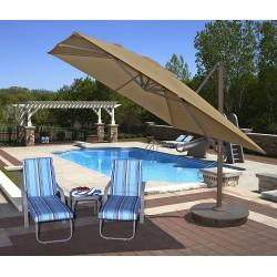 Blue Wave Santorini II 10-ft Square Cantilever Umbrella - Stone Sunbrella Acrylic (NU6055)