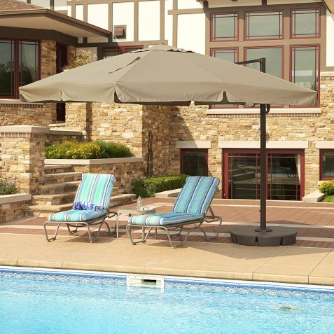 Blue Wave 10 ft Square Santorini II Cantilever Umbrella - Sunbrella Acrylic Antique Beige (NU6175)