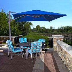 Blue Wave Santorini II 10-ft Square Cantilever Umbrella - Blue Sunbrella Acrylic (NU6080)