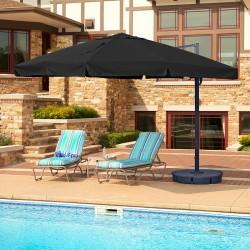Blue Wave Santorini II 10-ft Square Cantilever Umbrella w/ Valance - Black Sunbrella Acrylic (NU6170)