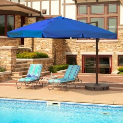 Blue Wave Santorini II 10-ft Square Cantilever Umbrella w/ Valance - Blue Sunbrella Acrylic (NU6180)