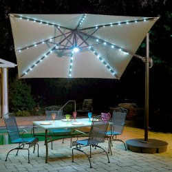 Blue Wave Santorini II Fiesta 10-ft Square Cantilever Umbrella - Beige Sunbrella Acrylic (NU6245)