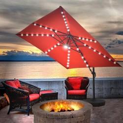 Blue Wave Santorini II Fiesta 10-ft Square Cantilever Umbrella - Terra Cotta Sunbrella Acrylic (NU6250)