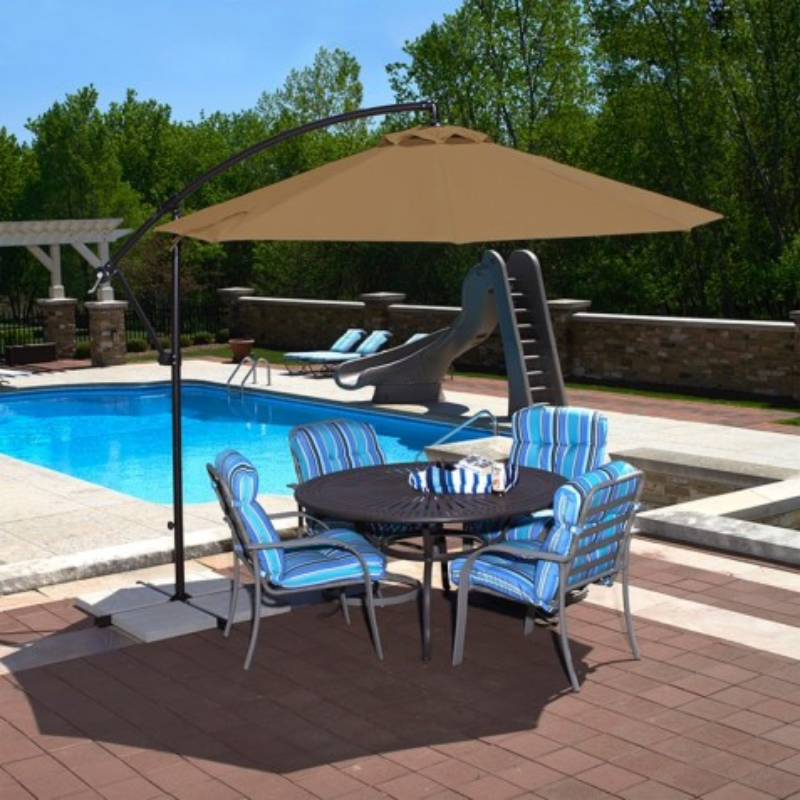 Blue Wave Santiago 10-ft Octagonal Cantilever Umbrella - Stone Sunbrella Acrylic (NU6400SS)