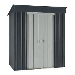 Globel 6'x4' Skillion Metal Storage Shed - Slate Gray and Silver (GL6000)