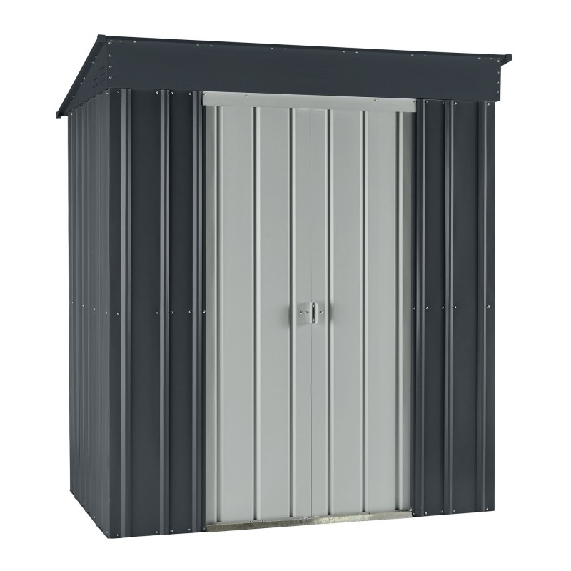 Globel 6'x4' Skillion Metal Storage Shed - Slate Gray and Silver (GL6000)