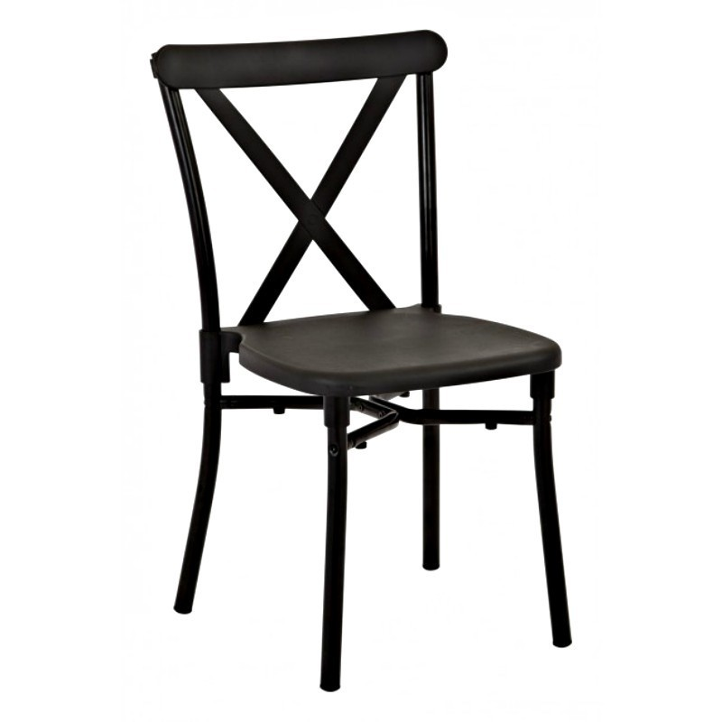 Work Smart 2-Pack X-Back Guest Stacking Chair - Black (STX8310AC2-3)