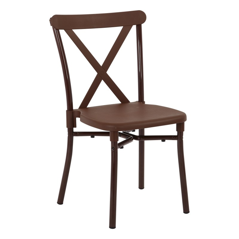 Work Smart 4-Pack X-Back Guest Stacking Chair - Brown (STX8310AC4-1)
