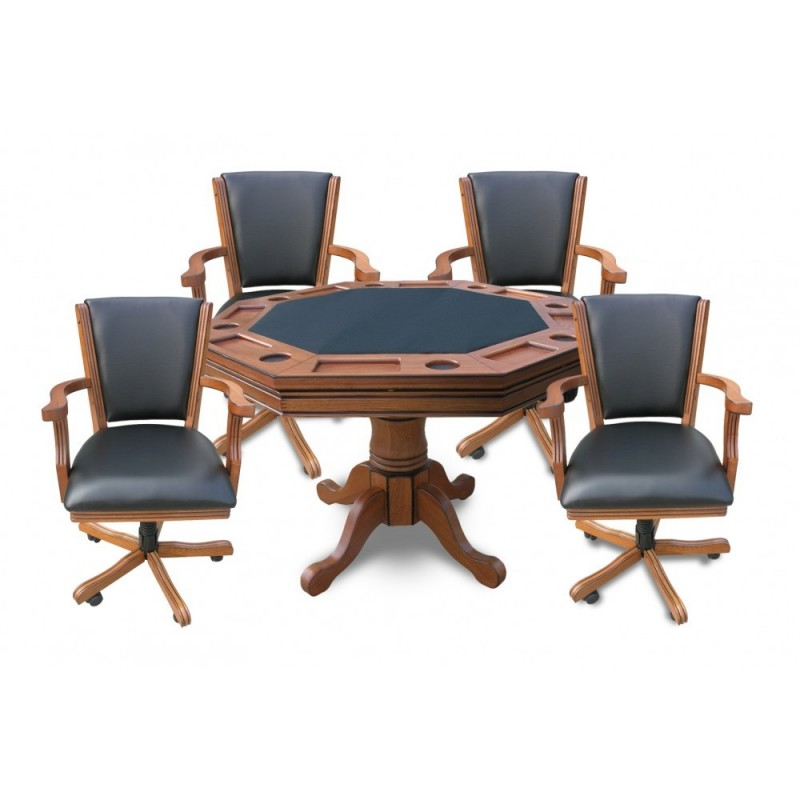 Antique Dark Oak Kingston 3-In-1 Poker Table with 4 Chairs (NG2351)