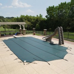 Blue Wave 14x28 20-Year Super Mesh In-Ground Pool Safety Cover w/ Right Step - Green (WS706G)