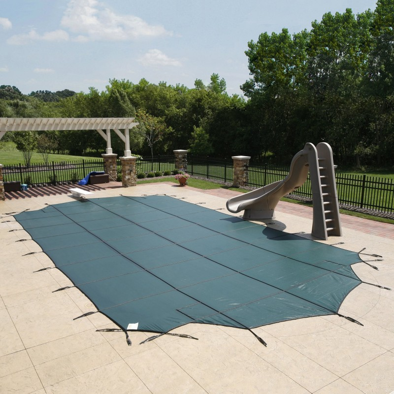 Blue Wave Arctic Armor 25x45 20-Year Super Mesh In-Ground Pool Safety Cover w/ Right Step - Green (WS766G)