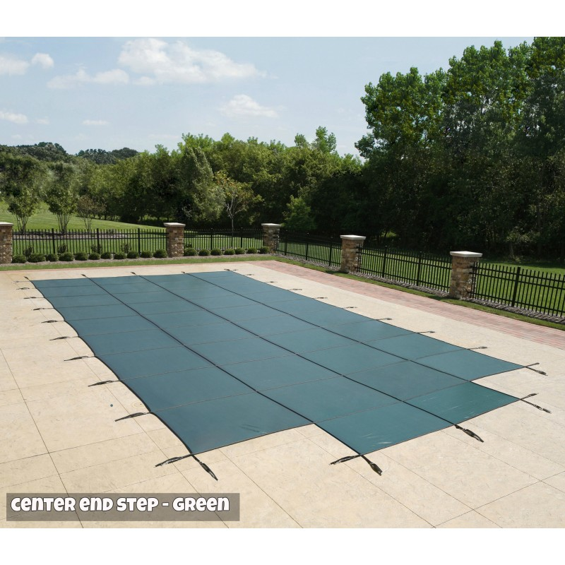 Blue Wave 16x32 20-Year Super Mesh In-Ground Pool Safety Cover w/ Right Step - Green (WS716G)