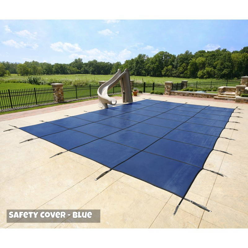 Blue Wave 14x28 20-Year Super Mesh In-Ground Pool Safety Cover w/ Right Step - Blue (WS706BU)