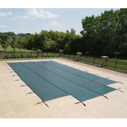 Blue Wave Arctic Armor 14x28 20-Year Super Mesh In-Ground Pool Safety Cover w/ Right Step - Green (WS706G)