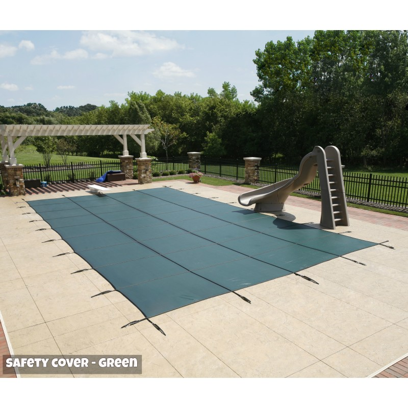 Blue Wave Arctic Armor 12x24 20-Year Super Mesh In-Ground Pool Safety Cover w/ Left Step - Green (WS7012G)